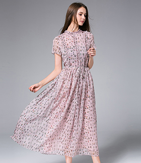 Dress - Little flowers Printed Chiffon Maxi Dress