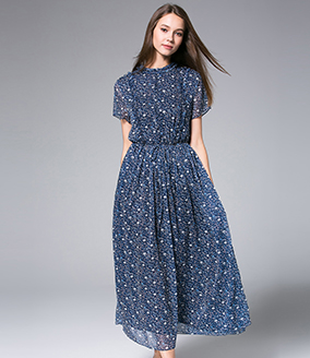 Dress -  Printed Chiffon Maxi Dress
