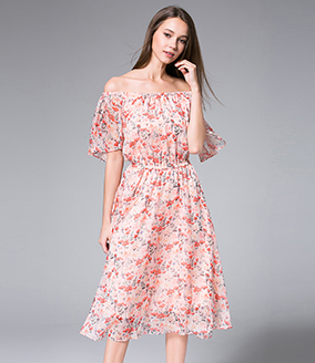 Dress - Florals Printed Chiffon Maxi Dress