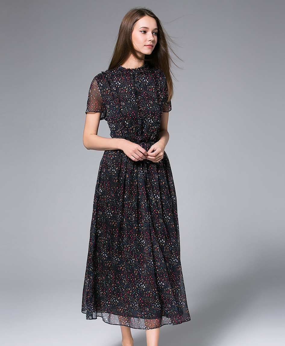 Dress - Black Printed Chiffon Maxi Dress